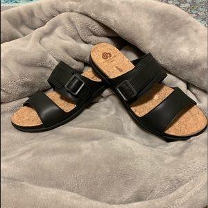 Clark's Cloudstepper Black Sandal Slippers Size 10